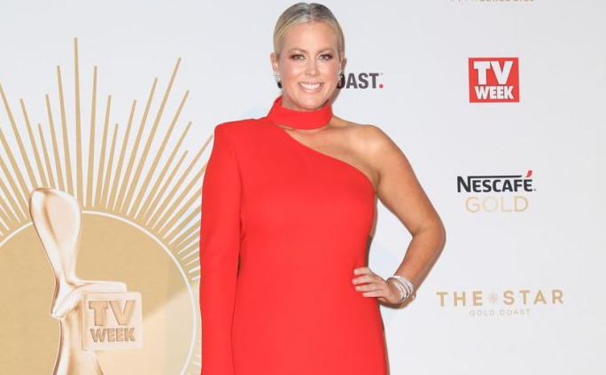 Pictured is Sunrise host Samantha Armytage wearing a red gown at an awards night.