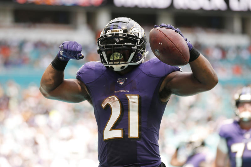 Mark Ingram #21 of the Baltimore Ravens