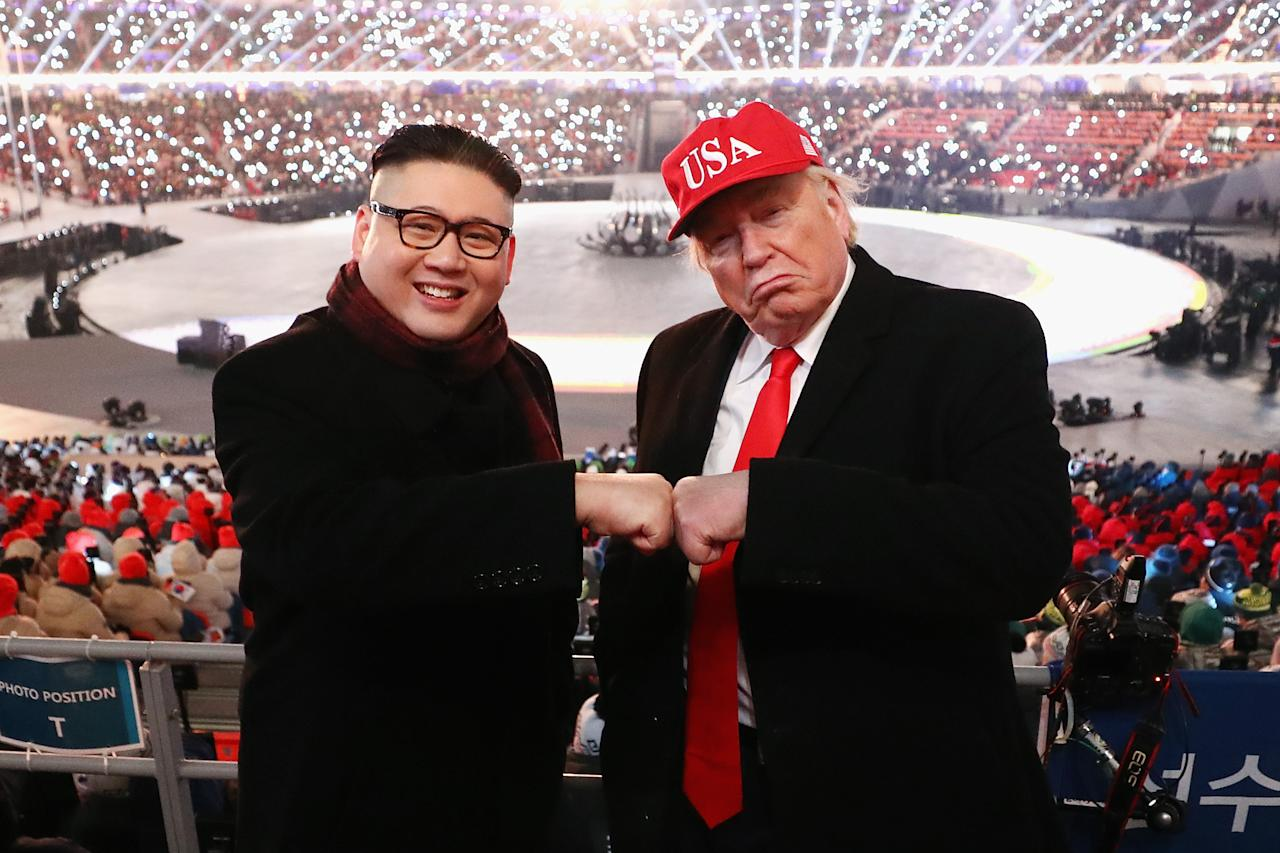 <p>The fake Kim Jong Un and the fake Donald Trump were kicked out of two separate Olympic events in PyeongChang.</p>