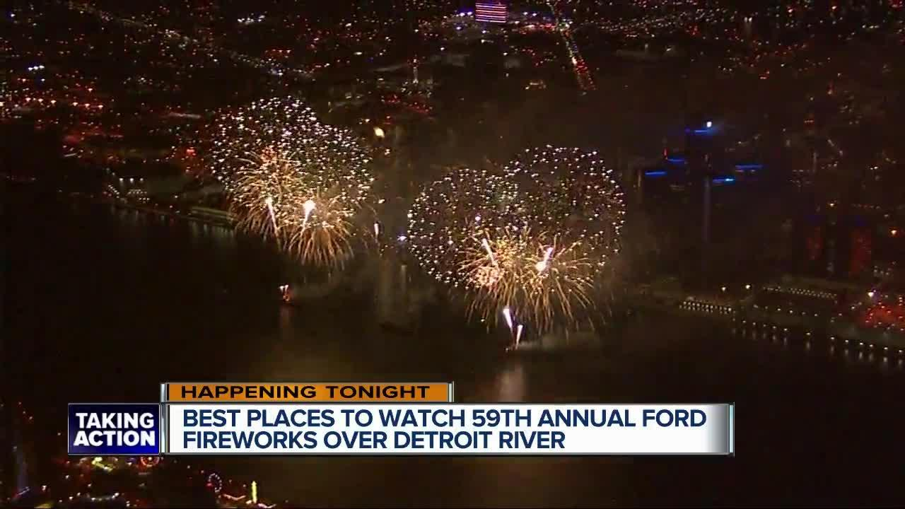 What are the best places to watch the Ford Fireworks over the Detroit River?