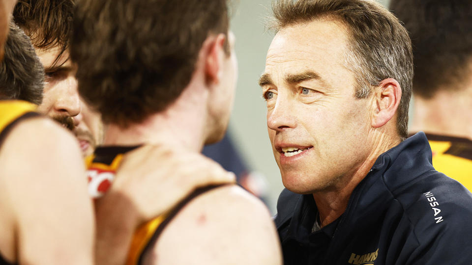 Alastair Clarkson has admitted the recently announced coaching succession plan between himself and assistant Sam Mitchell generated some confusion among players. (Photo by Daniel Pockett/AFL Photos/via Getty Images)