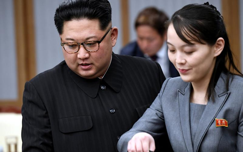 North Korean leader Kim Jong Un and his sister Kim Yo Jong attend a meeting with South Korean President Moon Jae-in at the Peace House - REUTERS