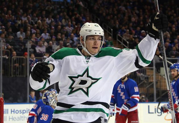 """NEW YORK, NY – JANUARY 05: <a class=""""link rapid-noclick-resp"""" href=""""/nhl/players/5989/"""" data-ylk=""""slk:Valeri Nichushkin"""">Valeri Nichushkin</a> #43 of the <a class=""""link rapid-noclick-resp"""" href=""""/nhl/teams/dal/"""" data-ylk=""""slk:Dallas Stars"""">Dallas Stars</a> skates against the <a class=""""link rapid-noclick-resp"""" href=""""/nhl/teams/nyr/"""" data-ylk=""""slk:New York Rangers"""">New York Rangers</a> at Madison Square Garden on January 5, 2016 in New York City. The Rangers defeated the Stars 6-2. (Photo by Bruce Bennett/Getty Images)"""