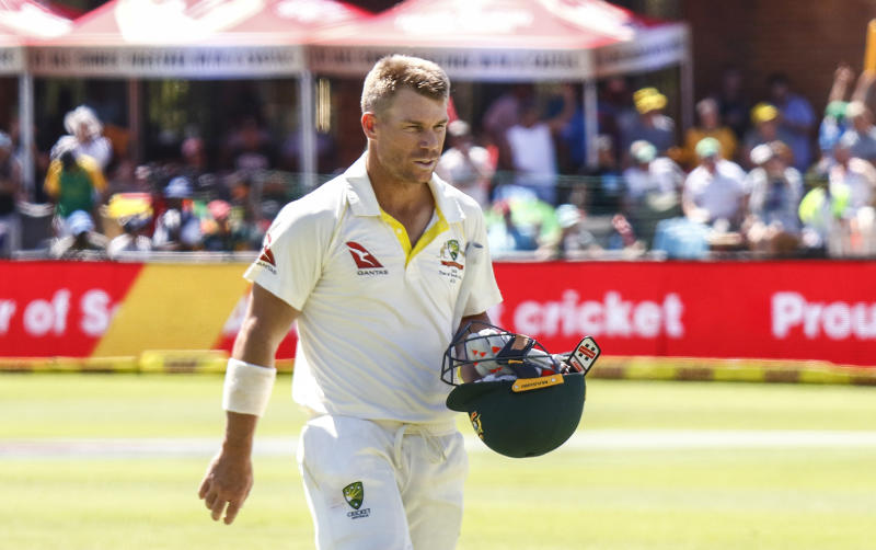 Australia's David Warner leaves the field after losing his wicket on the third day of the second cricket test between South Africa and Australia at St. George's Park in Port Elizabeth South Africa Sunday