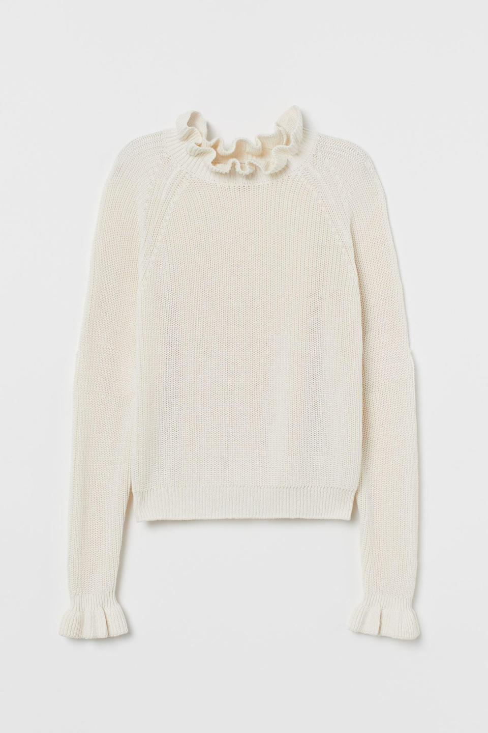 <p>This <span>H&amp;M Ruffled Ribbed Sweater</span> ($17, originally $25) is a polished pick for a work happy hour.</p>