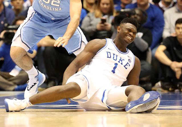 Zion Williamson reacts after falling as his shoe breaks in the first half against the North Carolina Tar Heels at Cameron Indoor Stadium on Feb. 20, 2019, in Durham, North Carolina. (Getty Images)
