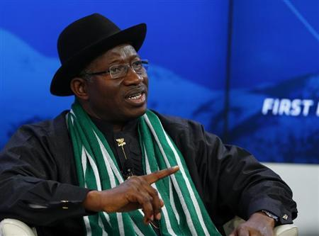 Nigeria's President Jonathan speaks during a session at World Economic Forum in Davos