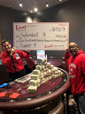 On February 15th, Wendell Holmes of Bowie, MD, turned a $5 wager into a $686,142 win on the Super 4 Blackjack Progressive table game at Live! Casino & Hotel.
