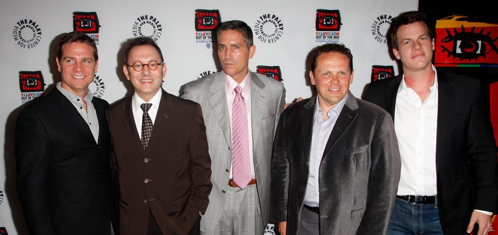"""Greg Plageman, Michael Emerson, Jim Caviezel, Kevin Chapman and Jonathan Nolan attend """"An Evening With CBS' '<a target=""""_blank"""" href=""""http://tv.yahoo.com/person-of-interest/show/47405"""">Person of Interest</a>'"""" at The Paley Center for Media on May 1, 2012 in Beverly Hills, California."""