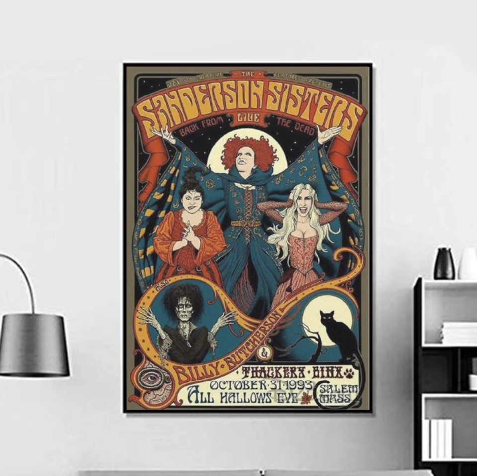 The Sanderson Sisters Hocus Movie Pocus 1993 Witch Halloween Poster (Photo via Etsy)
