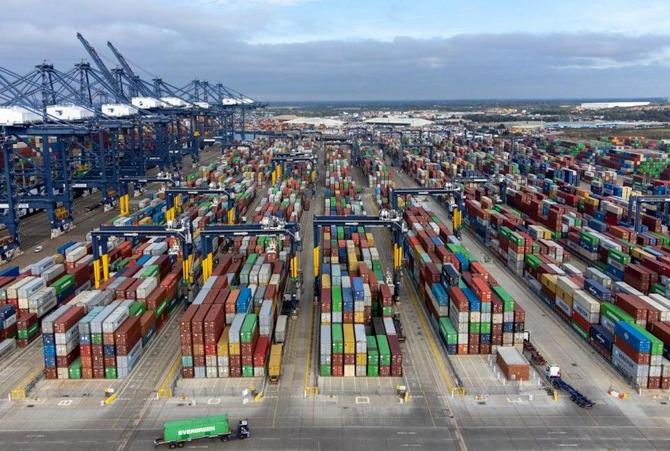 Thousands of shipping containers at the Port of Felixstowe in Suffolk (PA) (PA Wire)