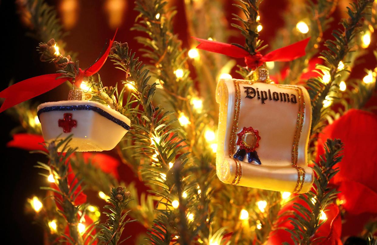 """Christmas ornaments are seen on a tree decorated in the first lady Melania Trump's """"Be Best"""" campaign theme during the 2018 Christmas Press Preview at the White House in Washington, D.C., Nov. 26, 2018. (Photo: Leah Millis/Reuters)"""