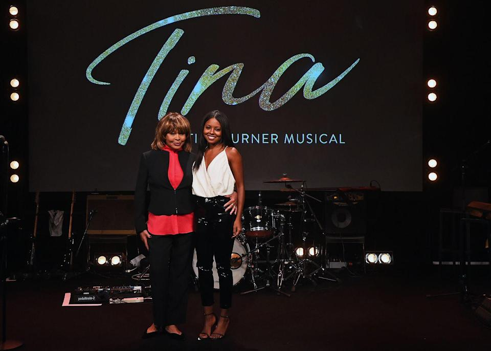<p>Posing with the Adrienne Warren, the actress who played Turner in <em>Tina: The Tina Turner</em> musical in London. </p>