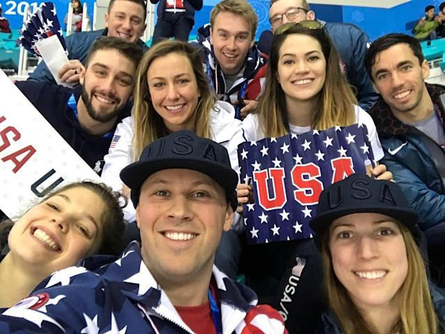 <p>mmortensenusa: Team USA is out in full force to support our @usahockey women during their gold medal game!! Lets go ladies!! . (Photo via Instagram/mmortensenusa) </p>