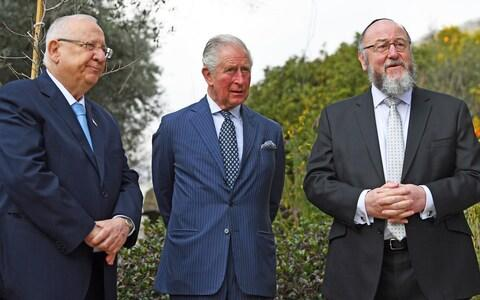 Britain's Prince Charles, center, meets with Israel President Reuven Rivlin, left, and Chief Rabbi Ephraim Mirvis at his official residence in Jerusalem - Credit: Victoria Jones