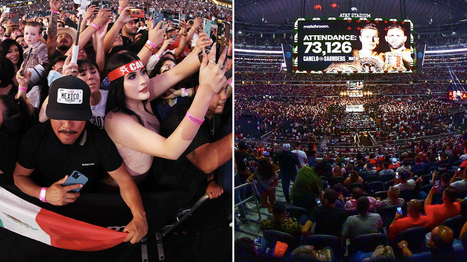 A record crowd, pictured here watching Canelo Alvarez and Billy Joe Saunders.