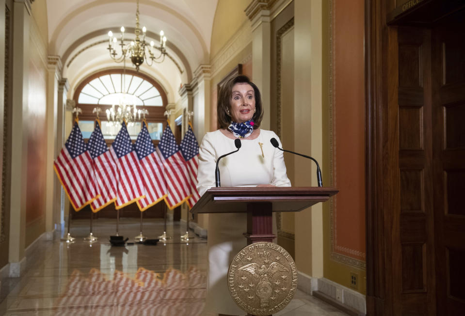 House Speaker Nancy Pelosi of Calif., speaks about the so-called Heroes Act, Tuesday, May 12, 2020 on Capitol Hill in Washington. (Saul Loeb/Pool via AP)
