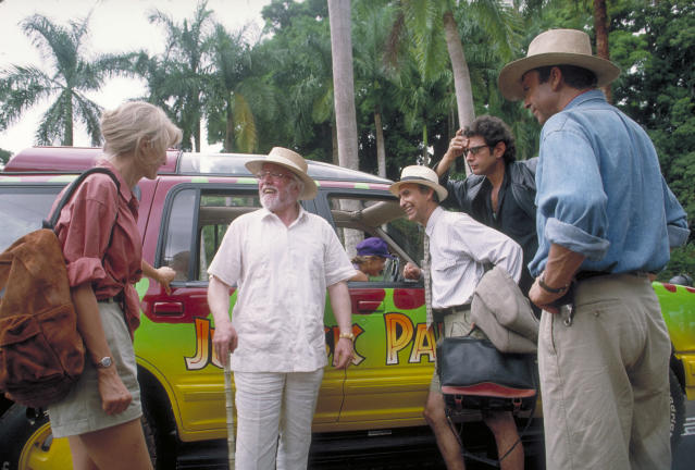 From left to right, actors Laura Dern as Dr. Ellie Sattler, Richard Attenborough as John Hammond, Martin Ferrero as Gennaro, Jeff Goldblum as Dr. Ian Malcolm and Sam Neill as Dr. Alan Grant, in a scene from the film 'Jurassic Park', 1993. (Photo by Murray Close/Getty Images)