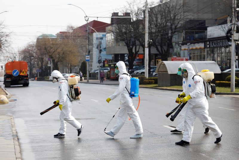 Specialists sanitize public facilities to prevent the spread of coronavirus disease in Stavropol