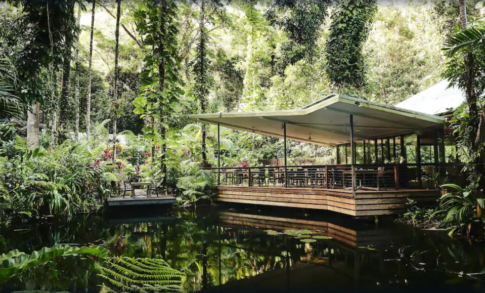 """Nestled in Queensland's Daintree Rainforest, Aussies can truly escape and be one with nature in one of the 15 eco-friendly bayans (treehouses) at the <a href=""""https://www.expedia.com.au/Lower-Daintree-Hotels-Daintree-Ecolodge.h525492.Hotel-Information"""" rel=""""nofollow noopener"""" target=""""_blank"""" data-ylk=""""slk:Ecolodge"""" class=""""link rapid-noclick-resp"""">Ecolodge</a>. Travellers can relax and rejuvenate at the Wellness Spa, enjoy the onsite waterfall and pool or unwind with a board game in the lodge. Photo: Supplied/Expedia"""