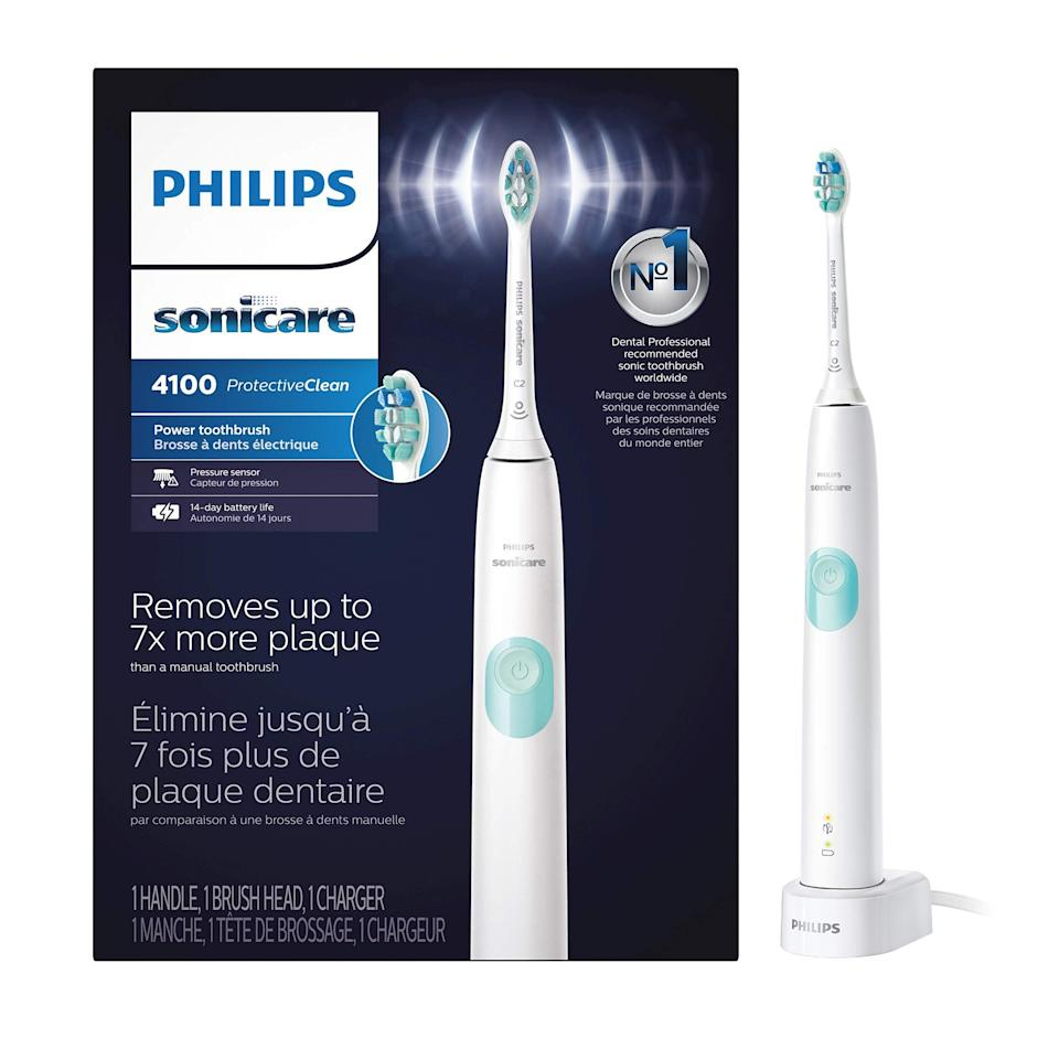 """<h2><a href=""""https://amzn.to/2zZFivU"""" rel=""""nofollow noopener"""" target=""""_blank"""" data-ylk=""""slk:Philips Sonicare"""" class=""""link rapid-noclick-resp"""">Philips Sonicare</a></h2> <br><strong>Dates: </strong>Now – Limited time<br><br>A toothbrush can be considered tech when Philips gets involved in the dental-care game — for super savings of the brand's bestselling Sonicare electric brush, keep an eye out on sites from <strong>Amazon</strong> (where it's currently 43% off) to <strong><a href=""""https://www.walmart.com/browse/personal-care/philips-sonicare-electric-toothbrushes/1005862_1007221_5157113"""" rel=""""nofollow noopener"""" target=""""_blank"""" data-ylk=""""slk:Walmart"""" class=""""link rapid-noclick-resp"""">Walmart</a></strong> and <strong><a href=""""https://www.bedbathandbeyond.com/store/brand/philips-sonicare/6622/"""" rel=""""nofollow noopener"""" target=""""_blank"""" data-ylk=""""slk:Bed Bath & Beyond"""" class=""""link rapid-noclick-resp"""">Bed Bath & Beyond</a></strong>. <br><br><strong>Philips</strong> Sonicare ProtectiveClean 4100 Electric Toothbrush, $, available at <a href=""""https://amzn.to/3ecK5sz"""" rel=""""nofollow noopener"""" target=""""_blank"""" data-ylk=""""slk:Amazon"""" class=""""link rapid-noclick-resp"""">Amazon</a><br><br><br>"""