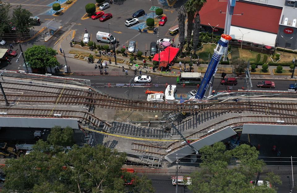 Aerial view showing the site in which a section of an elevated track collapsed, bringing a train crashing down on May 3, taken on May 10, 2021 a week after the accident, in Mexico City (Photo by Alfredo ESTRELLA / AFP) (Photo by ALFREDO ESTRELLA/AFP via Getty Images)