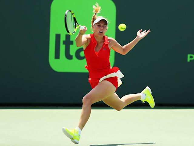 Wozniacki was unable to stop the Briton from making history (Getty)