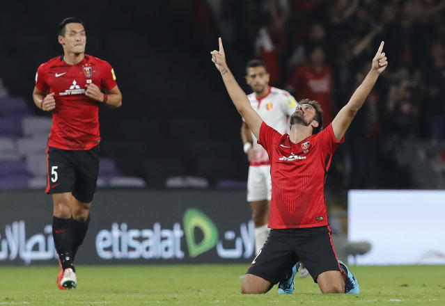 Japan's Urawa Reds Mauricio Antonio celebrates after scoring the opening goal during the Club World Cup soccer match for the fifth place between Wydad Athletic Club and Urawa Reds at the Hazza Bin Zayed stadium in Al Ain, United Arab Emirates, Tuesday, Dec. 12, 2017. (AP Photo/Hassan Ammar)
