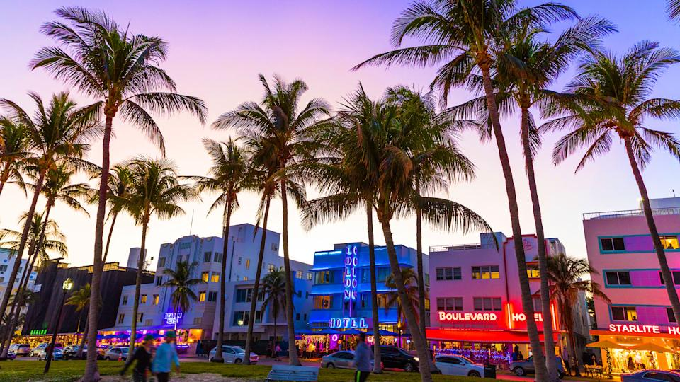 Ocean Drive night in Miami Beach.