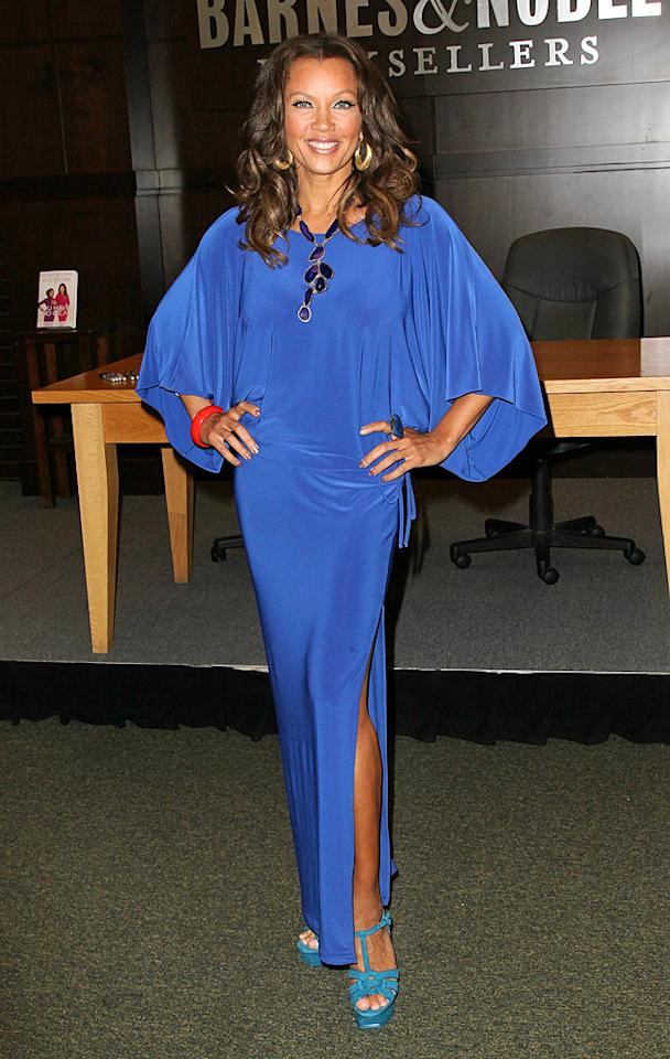 Felicity and Eva's co-star, Vanessa Williams, also looked lovely this week as she signed copies of her new memoir, <i>You Have No Idea</i>, at a bookstore in Los Angeles. The ageless actress -- who, surprisingly, just turned 49! -- popped a pose in a bright blue bat wing dress, gold hoops, orange bangle, and turquoise sandals. (4/28/2012)