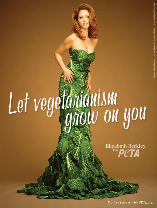 <p>Plenty of famous greens-loving women, including Tia Mowry and Cloris Leachman, have worn versions of PETA's vegetarian dress, but obviously we're most *excited* about Elizabeth Berkley's turn. Let's hope there weren't any rabbits (or caffeine pills) on set that day. </p>