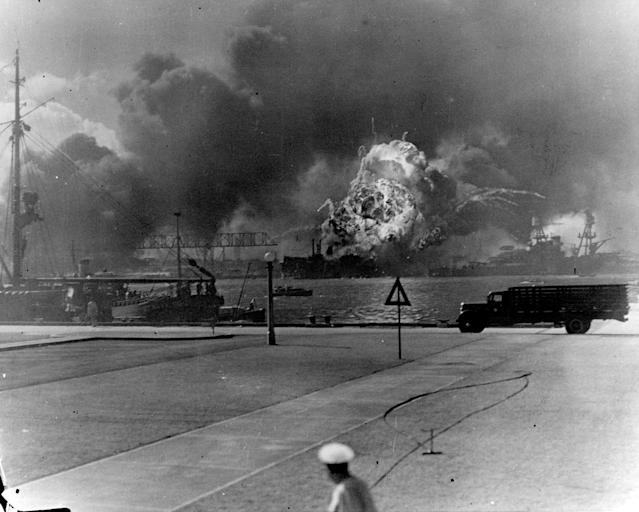 <p>The forward magazines of the destroyer USS Shaw explode after a bombing attack by Japanese planes on Pearl Harbor on Dec. 7, 1941. (U.S. Navy/U.S. Naval History and Heritage Command/Handout via Reuters) </p>