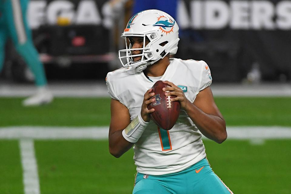 Tua Tagovailoa started slowly but led the Miami Dolphins to a major victory over the Las Vegas Raiders in Week 16. (Photo by Ethan Miller/Getty Images)