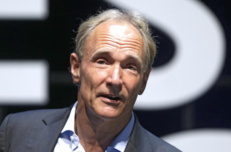 Sir Tim Berners-Lee wants Facebook to ban political advertising (AP Photo/Lionel Cironneau)