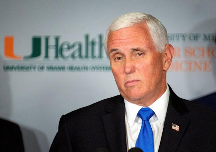 Mike Pence at a coronavirus vaccine roundtable in Miami, Florida: EPA