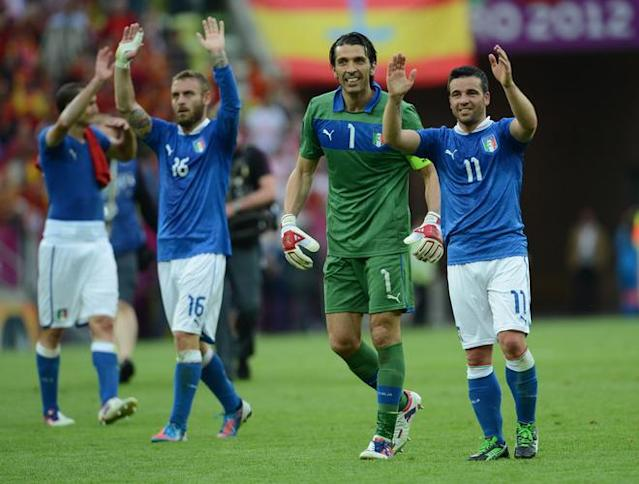 Italian goalkeeper Gianluigi Buffon and Italian forward Antonio Di Natale wave at the end of the Euro 2012 championships football match Spain vs Italy on June 10, 2012 at the Gdansk Arena. AFP PHOTO / CHRISTOF STACHECHRISTOF STACHE/AFP/GettyImages