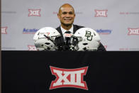 Baylor head coach Dave Aranda smiles as he listens to a question during the NCAA college football Big 12 media days Thursday, July 15, 2021, in Arlington, Texas. (AP Photo/LM Otero)