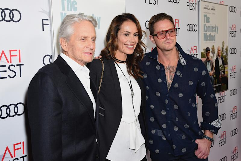 "HOLLYWOOD, CA - NOVEMBER 10: (L-R) Michael Douglas, Viviane Thibes and Cameron Douglas attend the Gala Screening of ""The Kominsky Method"" at AFI FEST 2018 Presented By Audi at TCL Chinese Theatre on November 10, 2018 in Hollywood, California. (Photo by Presley Ann/Getty Images for AFI)"