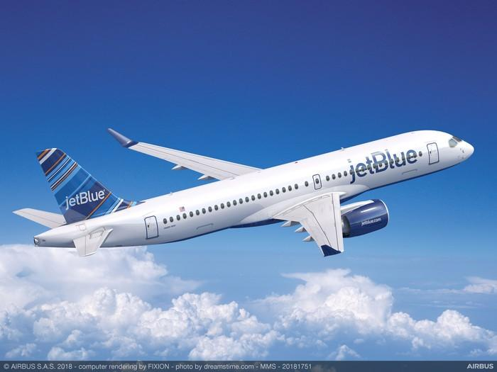A rendering of an Airbus A220 in the JetBlue livery.