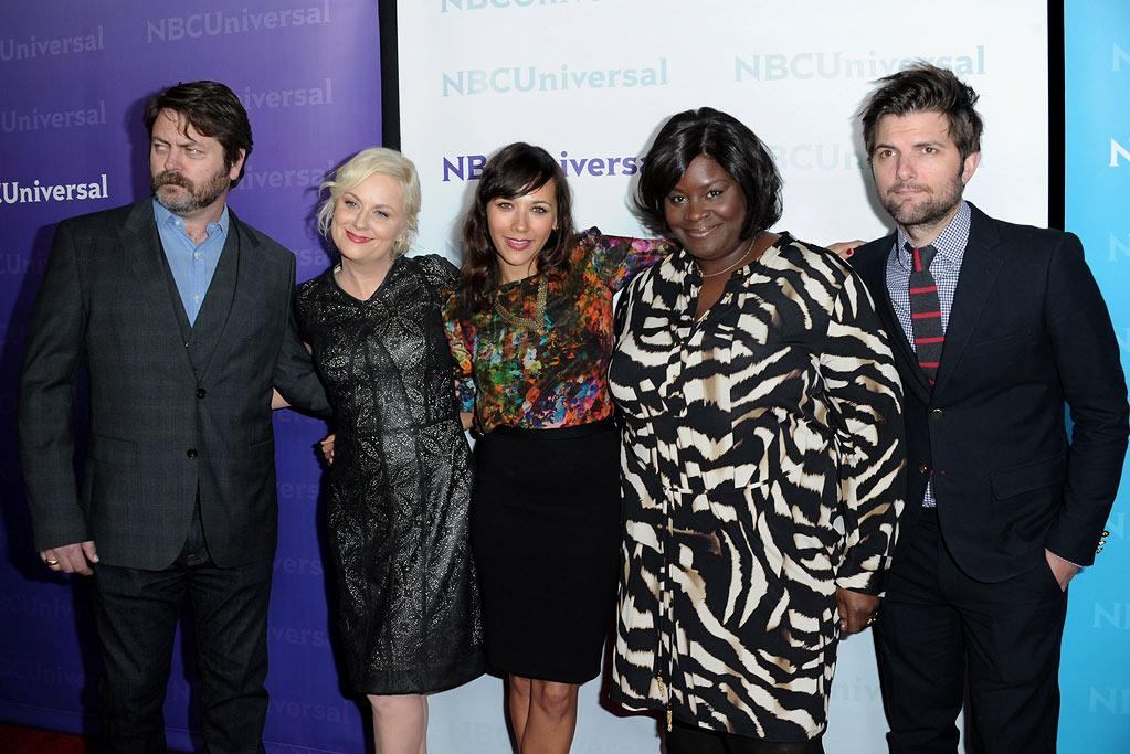 """<a href=""""/nick-offerman/contributor/783277"""">Nick Offerman</a>, <a href=""""/amy-poehler/contributor/51056"""">Amy Poehler</a>, <a href=""""/rashida-jones/contributor/35399"""">Rashida Jones</a>, Retta, and <a href=""""/adam-scott/contributor/36099"""">Adam Scott</a> (""""<a href=""""/parks-recreation/show/42828"""">Parks and Recreation</a>"""") attend the 2012 NBC Universal Winter TCA  All-Star Party at The Athenaeum on January 6, 2012 in Pasadena, California."""