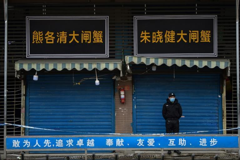 The Huanan Seafood Wholesale Market in Wuhan, where the coronavirus was detected on January 24, remains shuttered and guarded