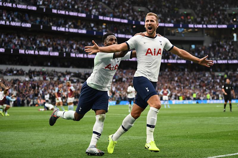 Tottenham Hotspur's English striker Harry Kane celebrates scoring the team's second goal during the English Premier League football match between Tottenham Hotspur and Aston Villa at Tottenham Hotspur Stadium in London, on August 10, 2019. (Photo by Daniel LEAL-OLIVAS / AFP) / RESTRICTED TO EDITORIAL USE. No use with unauthorized audio, video, data, fixture lists, club/league logos or 'live' services. Online in-match use limited to 120 images. An additional 40 images may be used in extra time. No video emulation. Social media in-match use limited to 120 images. An additional 40 images may be used in extra time. No use in betting publications, games or single club/league/player publications. / (Photo credit should read DANIEL LEAL-OLIVAS/AFP/Getty Images)