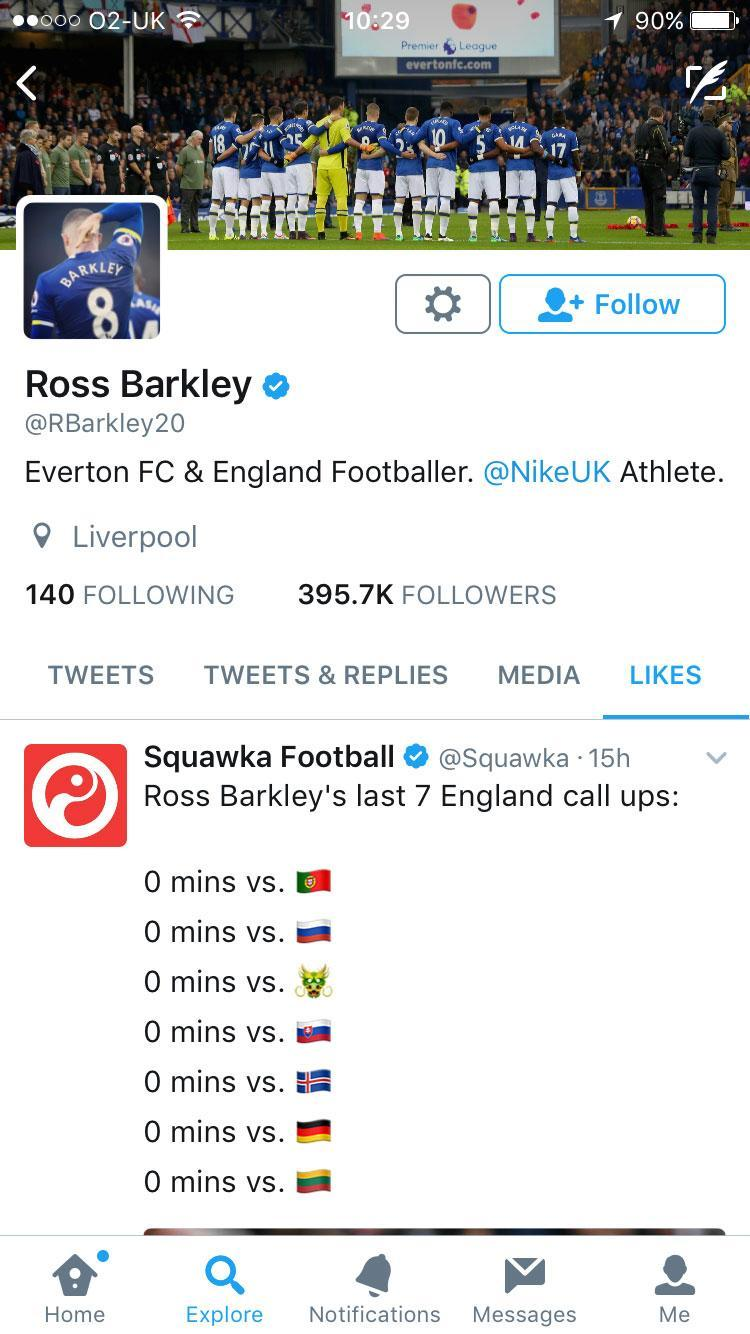 Ross Barkley liked a post on Twitter that highlighted how little international football he's played in the last year (Getty)