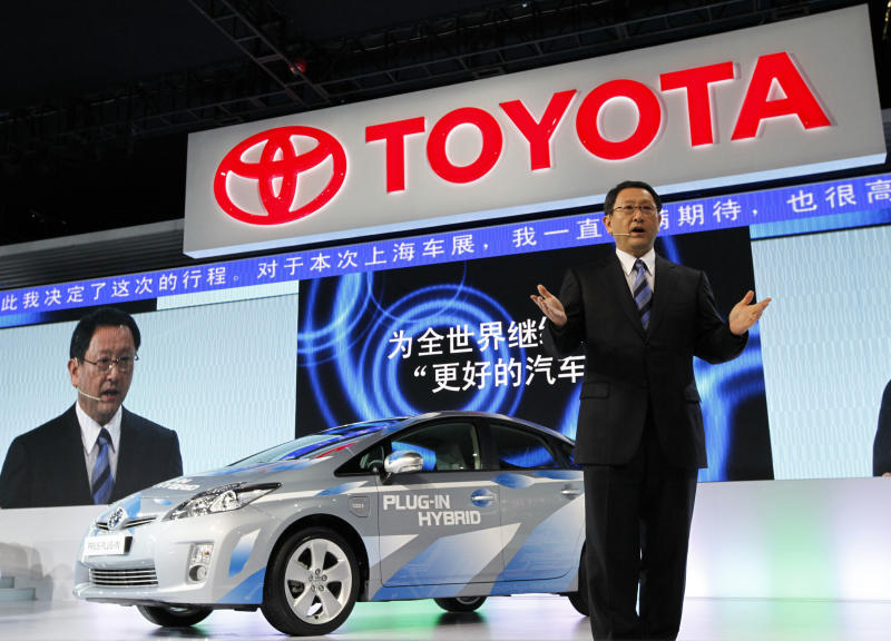 Akio Toyoda, president and CEO of Toyota Motor, speaks during Toyota presentation on the press day at the Shanghai International Auto Show in Shanghai, China, Tuesday, April 19, 2011. (AP Photo/Eugene Hoshiko)