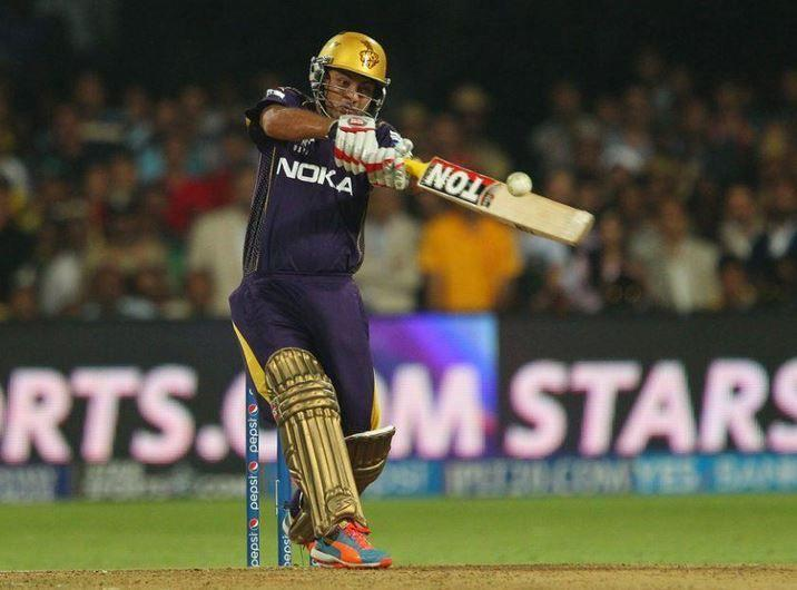 Piyush Chawla hitting probably the most important boundary of the match