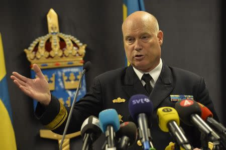 Swedish Rear Admiral Anders Grenstad speaks during a news conference in the headquarters of the Swedish Armed Forces in Stockholm, October 19, 2014. REUTERS/Jonas Ekstromer/TT News Agency