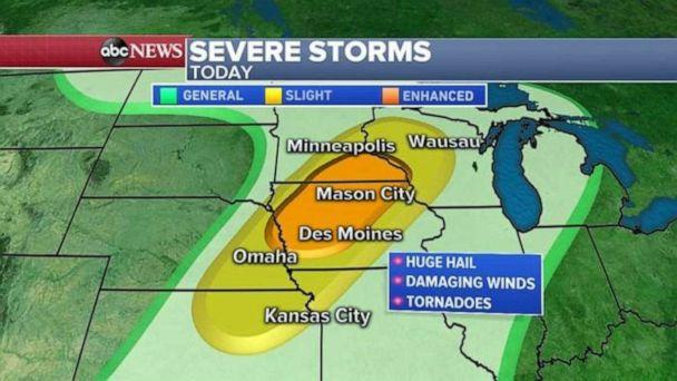 PHOTO: Strong winds, hail, and possible tornadoes could hit South Dakota and Nebraska. (ABC News)