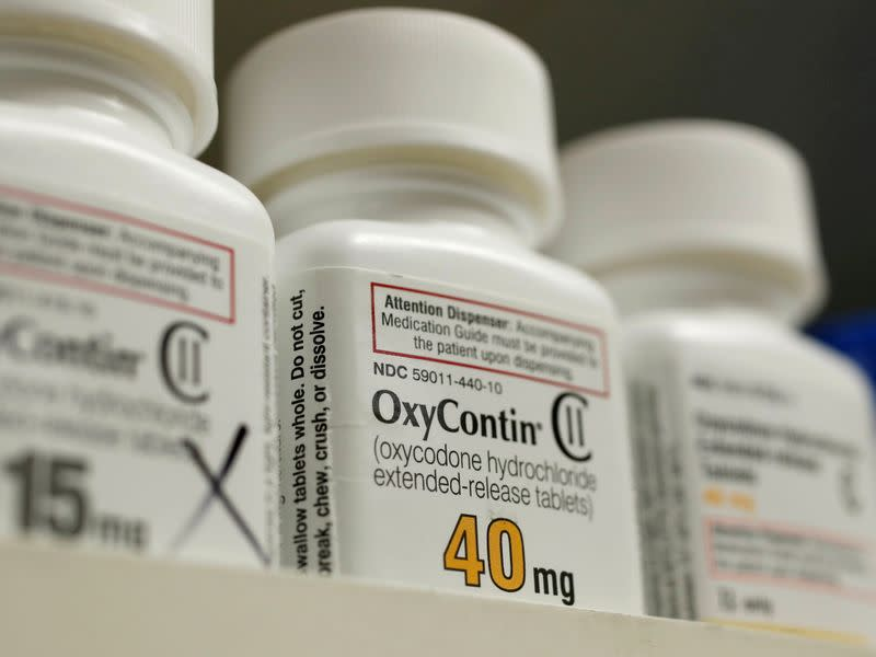 FILE PHOTO: Bottles of prescription painkiller OxyContin made by Purdue Pharma LP sit on a shelf at a local pharmacy in Provo