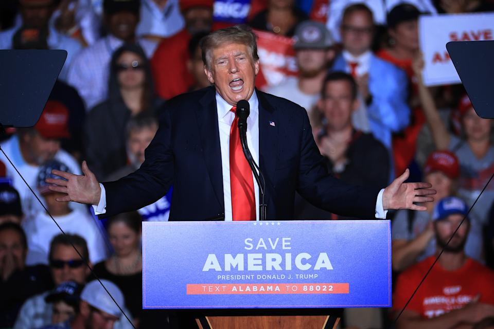 Former President Donald Trump addresses supporters during a