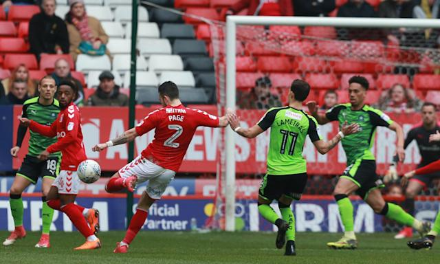 Charlton Athletic's Lewis Page scores the first goal of Lee Bowyer's tenure at The Valley.